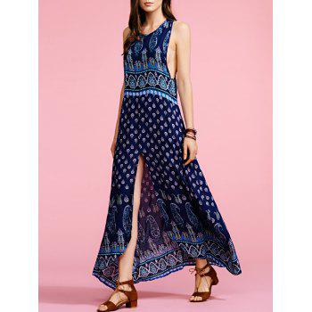Stylish Round Neck Sleeveless Bohemian Print Women's Maxi Dress