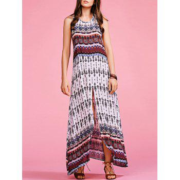 Stylish Round Neck Sleeveless Bohemian Printed Women's Maxi Dress