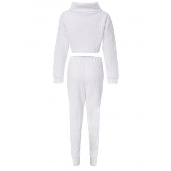 Chic Turtleneck Solid Color Crop Top and High Waist Bodycon Pants Twinset For Women - WHITE 2XL
