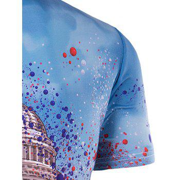 Men's Slimming Collarless White House Printing Short Sleeves - COLORMIX COLORMIX
