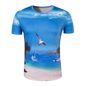 Men's Slimming Collarless Seaside Printing Short Sleeves - BLUE BLUE