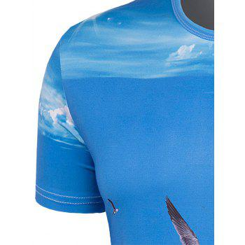 Men's Slimming Collarless Seaside Printing Short Sleeves - BLUE M