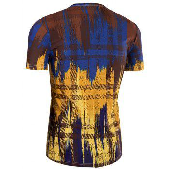 Men's Slimming Painting Collarless Short Sleeves - COLORMIX L