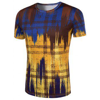 Men's Slimming Painting Collarless Short Sleeves - COLORMIX M