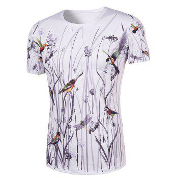 Men's Hot Sale 3D Bird and Flower Printed Round Neck Short Sleeve T-Shirt - COLORMIX COLORMIX