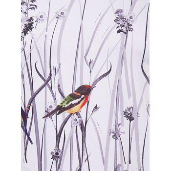 Men's Hot Sale 3D Bird and Flower Printed Round Neck Short Sleeve T-Shirt - COLORMIX XL