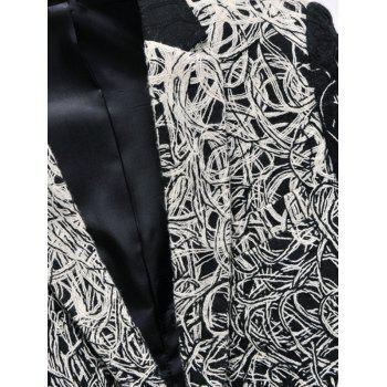 Men's Plus Size One Button Abstract Printed Flap Pocket Long Sleeve Long Blazer - BLACK M