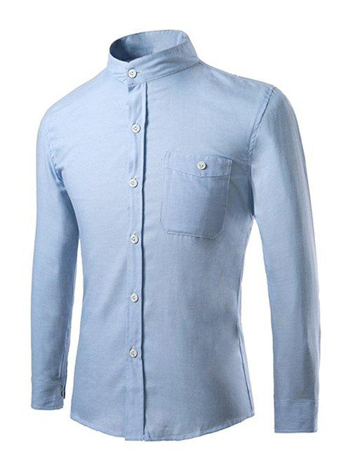 Men's Casual Stand Collar Solid Color Long Sleeves Shirts - AZURE XL