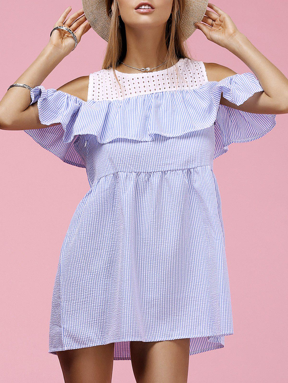 Cute Women's Round Neck Hollow Out Flounced Striped Dress