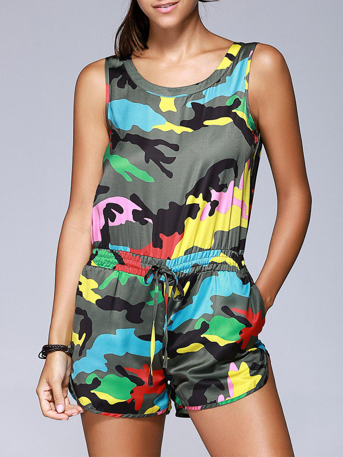 Fashionable Women's Camouflage Printing Sleeveless Drawstring Romper - COLORMIX ONE SIZE(FIT SIZE XS TO M)