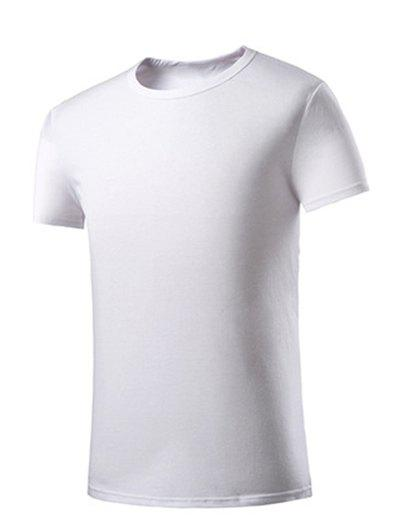 Men's Casual Round Collar Solid Color Short Sleeves T-Shirts - WHITE M