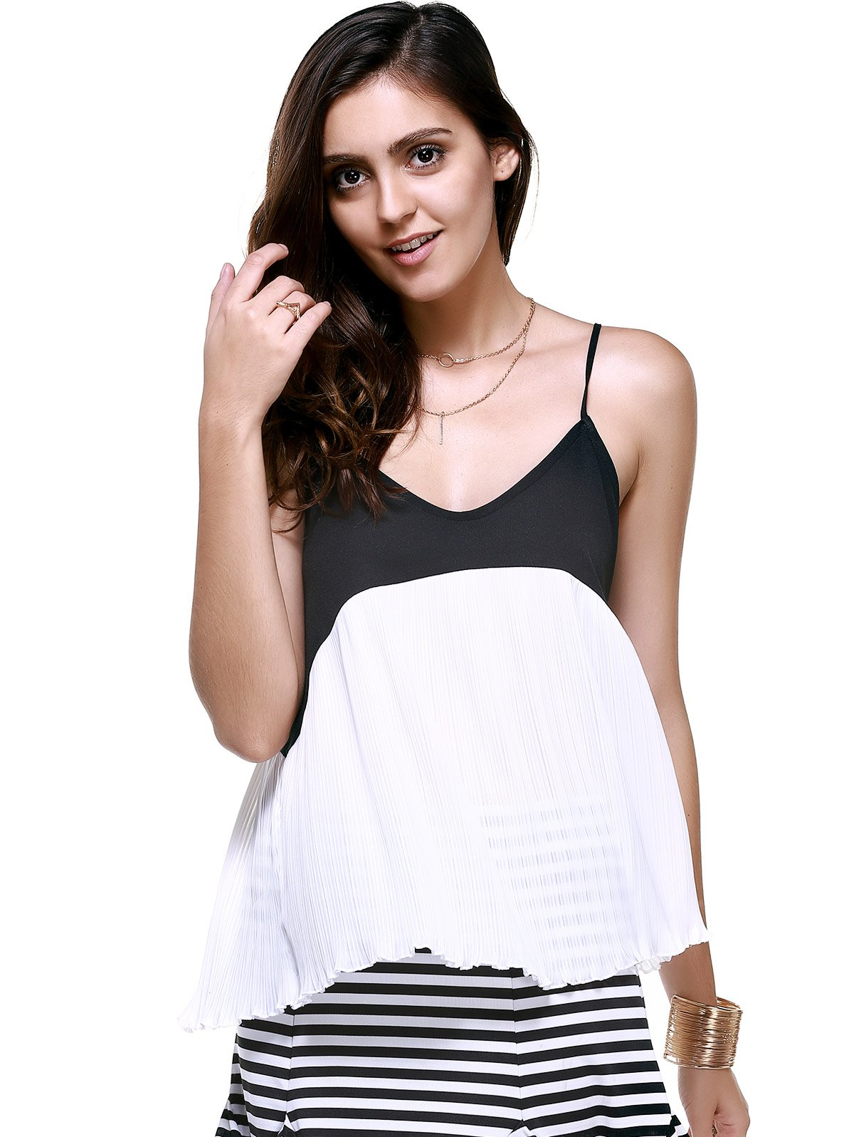 Fashionable V-Neck Spaghetti Strap Ruffle Top For Women - BLACK ONE SIZE(FIT SIZE XS TO M)