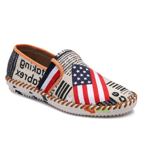 Fashionable Letter Print and American Flag Pattern Design Men's Canvas Shoes - COLORMIX 41