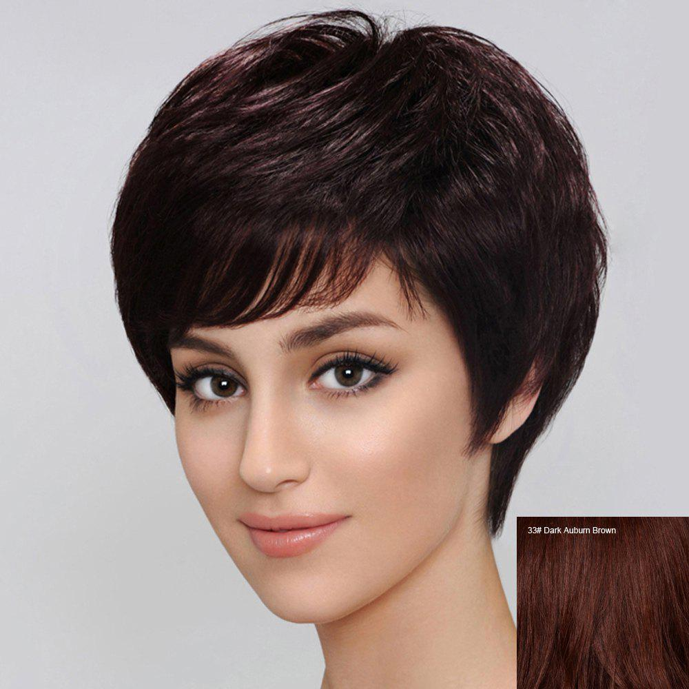 Spiffy Short Side Bang Human Hair Wig For Women - DARK AUBURN BROWN
