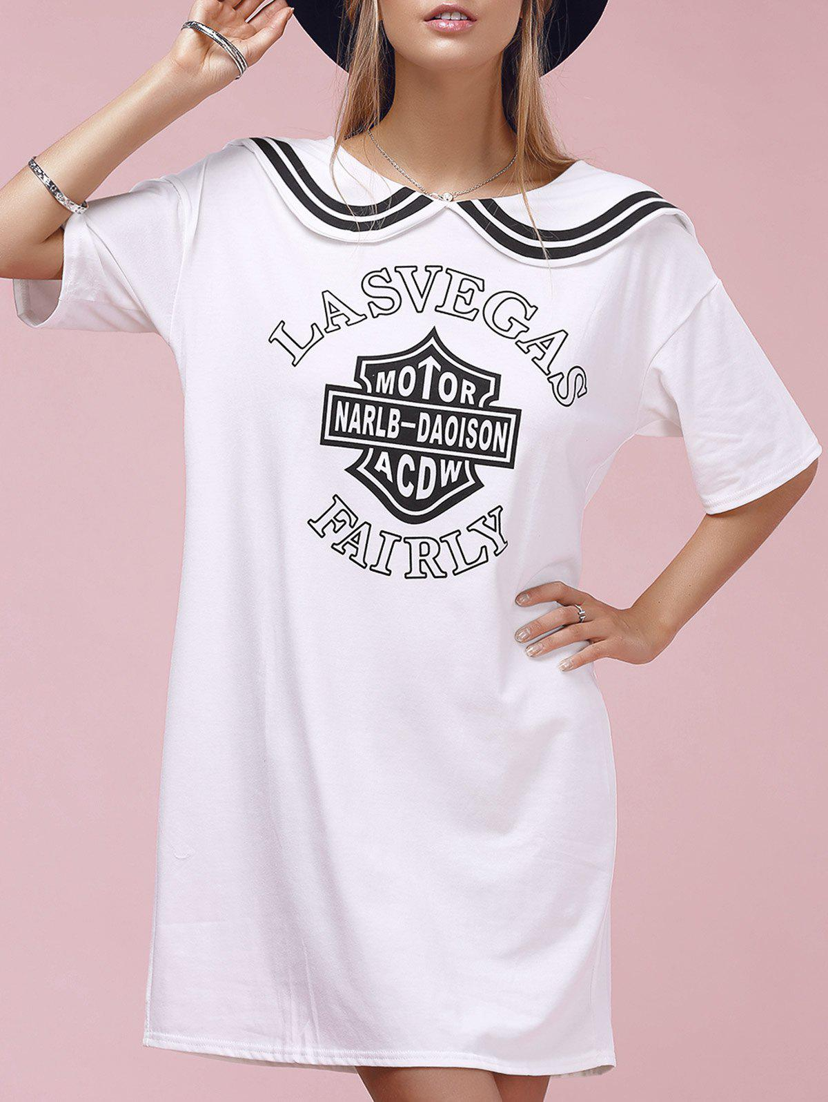 Casual Letter Print Short Sleeve Sailor Collar Women's Dress - WHITE ONE SIZE(FIT SIZE XS TO M)