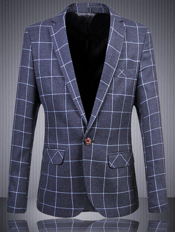 Men's Plus Size One Button Plaid Printed Lapel Long Sleeves Blazer - BLUE 6XL