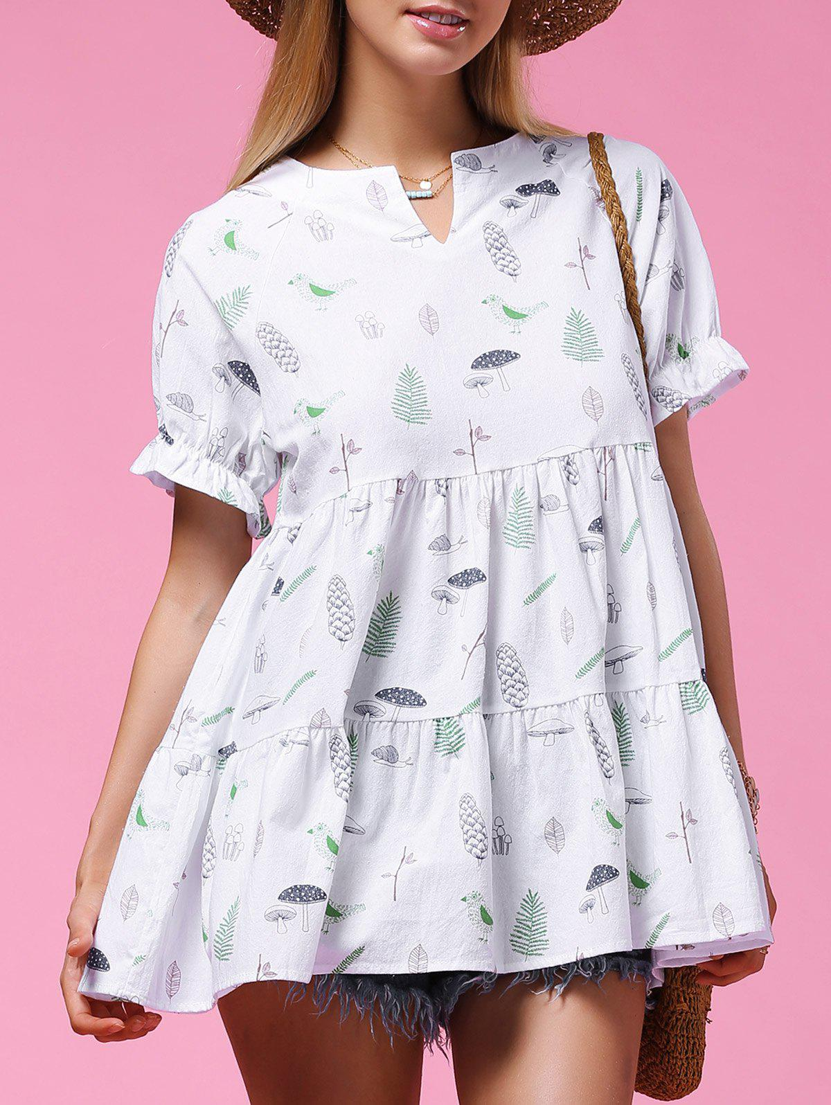 Sweet Women's Short Sleeve Plant Print Flounced Blouse