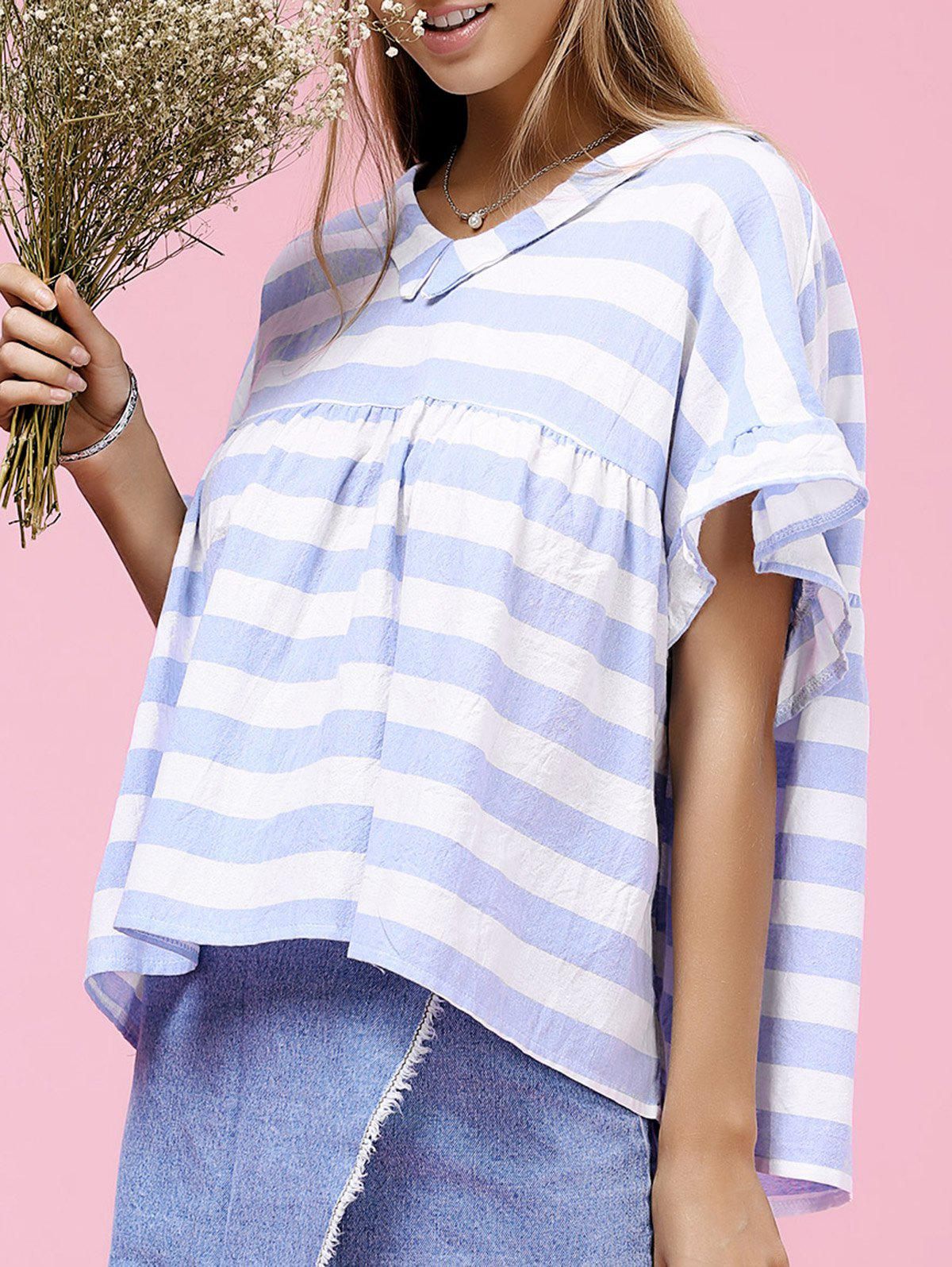 Cute Striped V-Neck Ruffled Short Sleeve Women's Blouse - LIGHT BLUE ONE SIZE(FIT SIZE XS TO M)