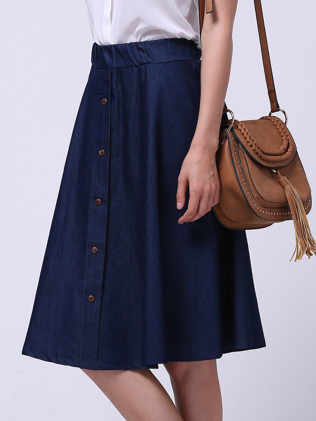 Single-Breasted Elastic Waist Women's Denim Skirt - DEEP BLUE 2XL