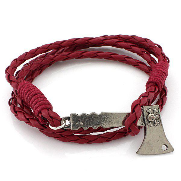 Axe Layered PU Leather Bracelet - WINE RED