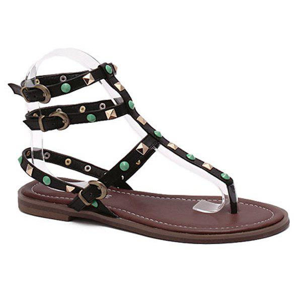 Rome Style Rivet and Flat Heel Design Women's Sandals - BLACK 38