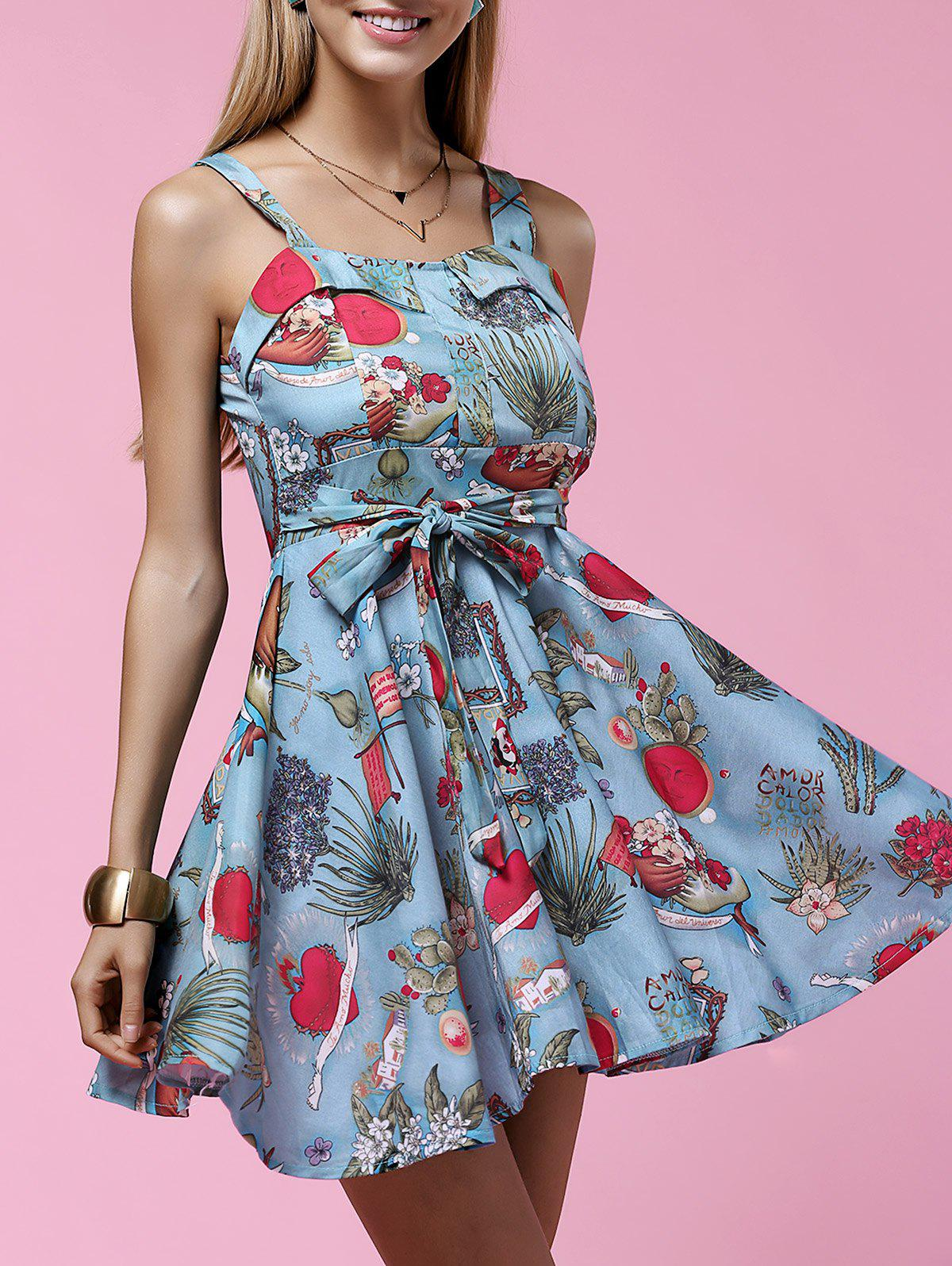 Fashionable Sleeveless Printed Slimming High-Waisted Women's Dress - LIGHT BLUE L