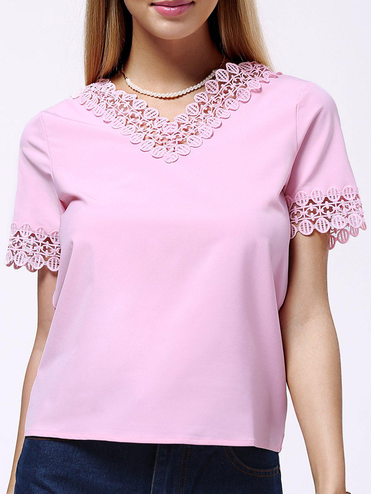 Sweet Women's Short Sleeve V Neck Pure Color Lace Spliced Blouse - PINK L