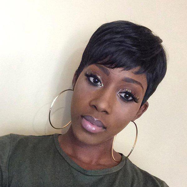 Refreshing Short Side Bang Human Hair Wig For Women - JET BLACK