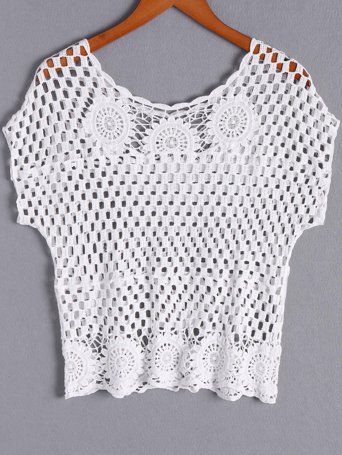Bohemian Women's Scoop Neck Crochet Short Sleeves Solid Color Blouse - WHITE ONE SIZE(FIT SIZE XS TO M)
