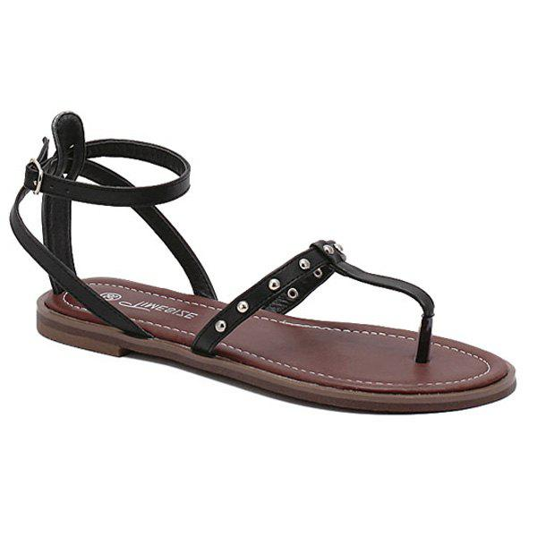 Casual Ankle Strap and Rivet Design Women's Sandals - BLACK 38