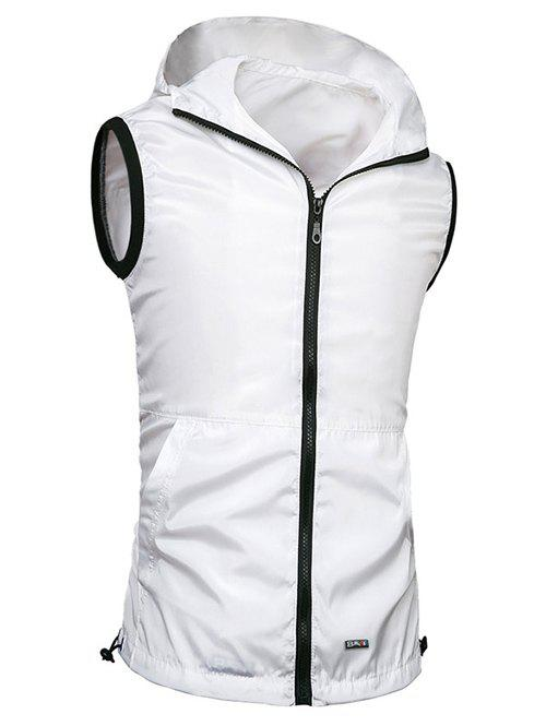 Men's Slimming Solid Color Hooded Zipper Vest - WHITE 3XL