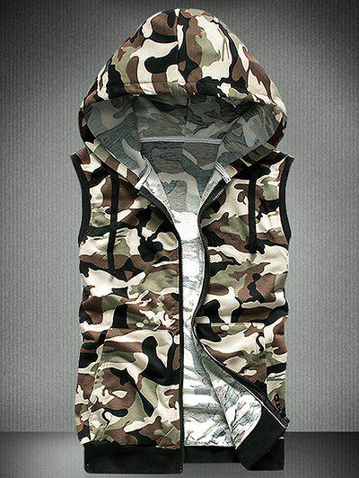 Men's Slimming Camo Hooded Zipper Vest - GREEN 2XL