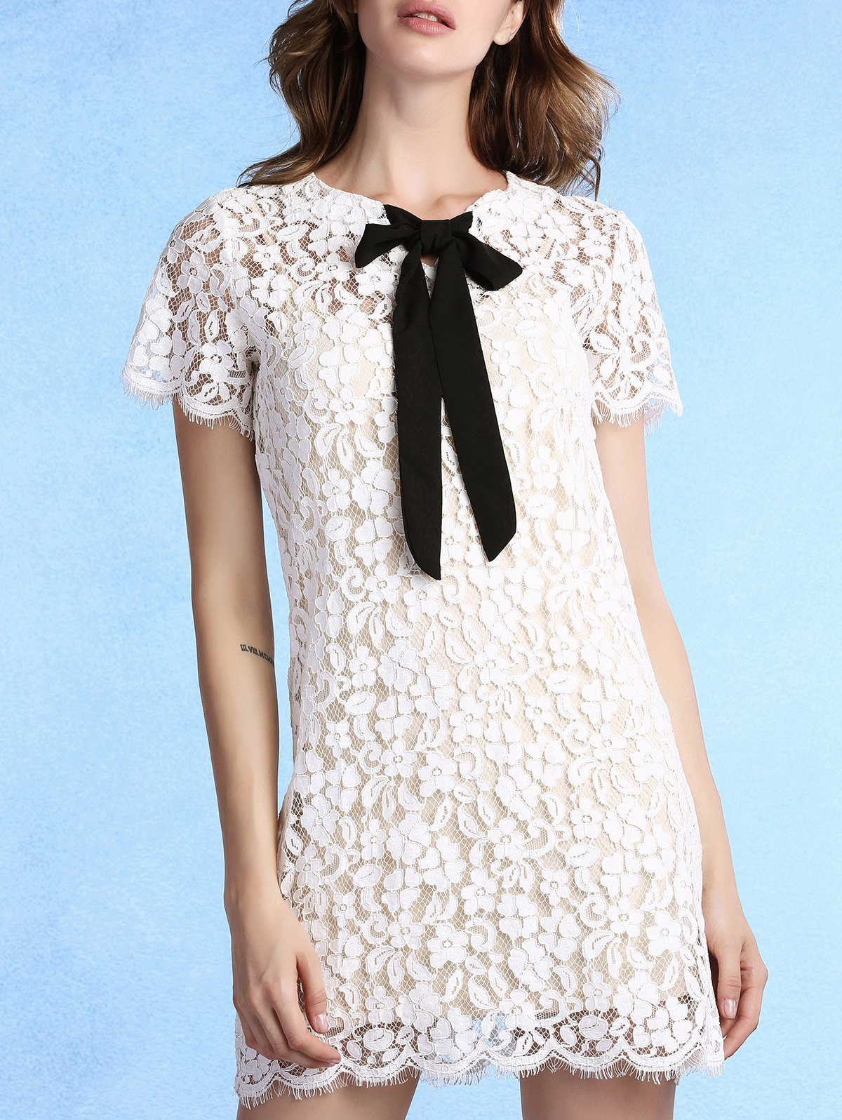 Sweet Cami Top + Bow Tie Neck Lace Dress Women's Twinset - WHITE 2XL