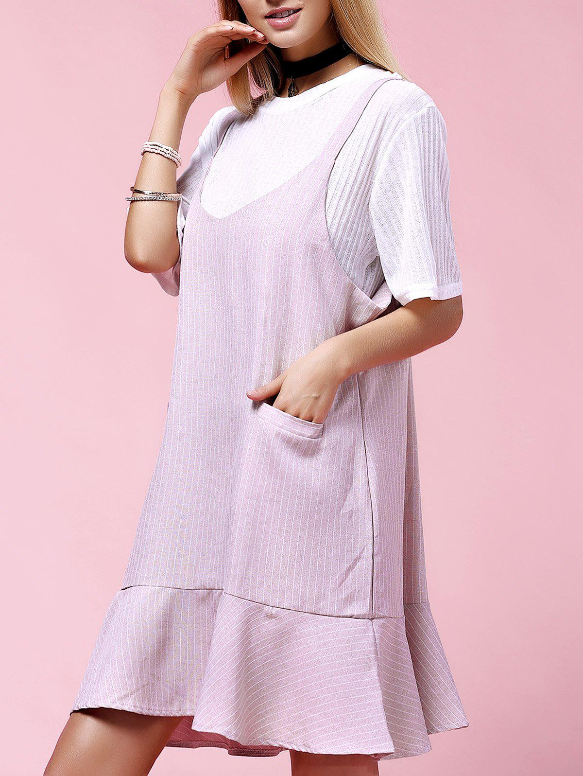 Stylish Women's Plus Size Solid Color Overall Dress Twinset - PINK 2XL