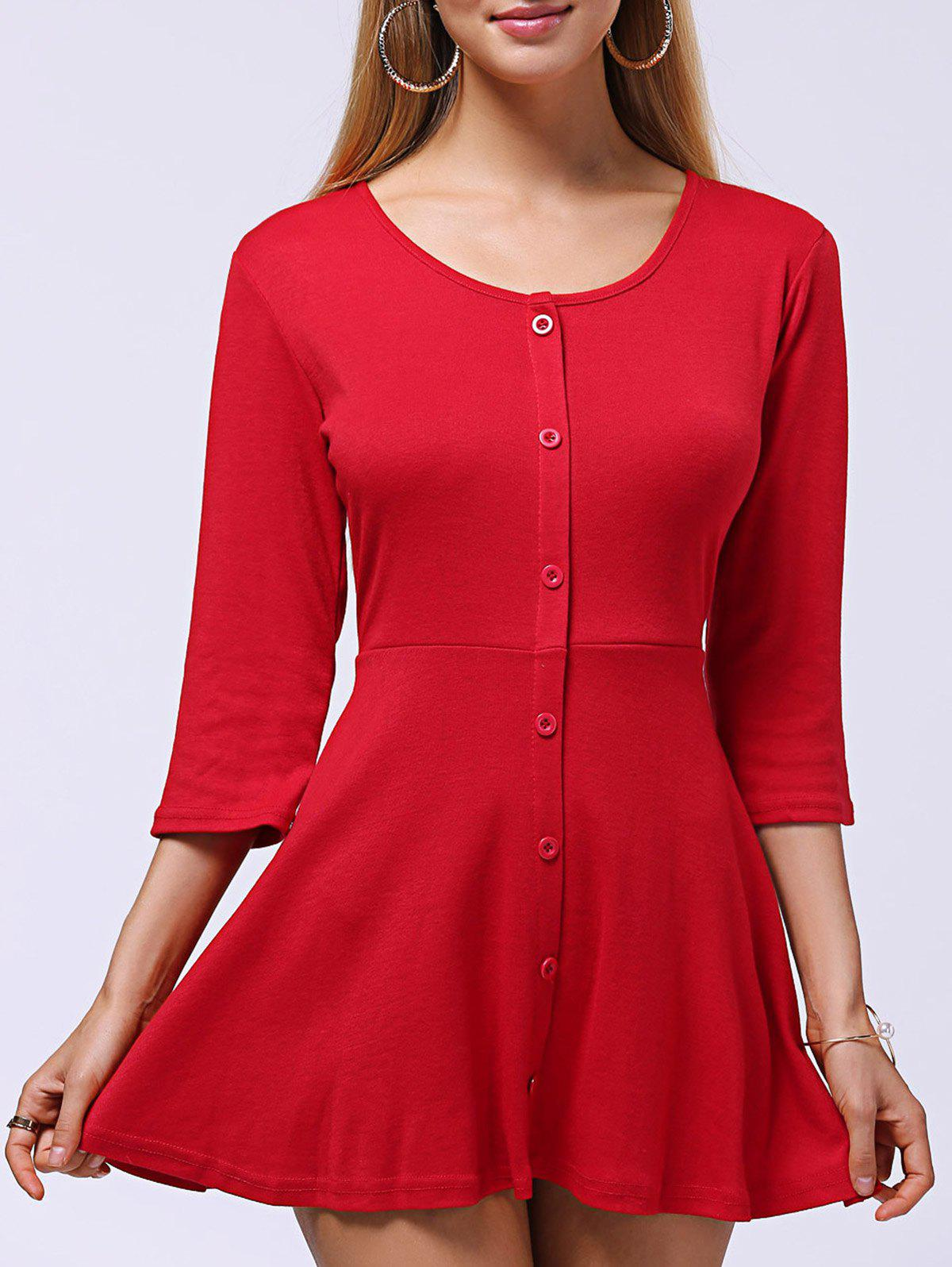 Round Neck Button-Down Sweet Knit Women's Dress - RED XL