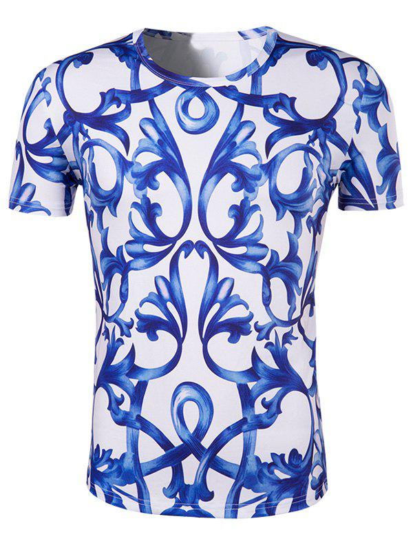 Men's Slimming National Style Printing Collarless Short Sleeves - BLUE/WHITE 2XL