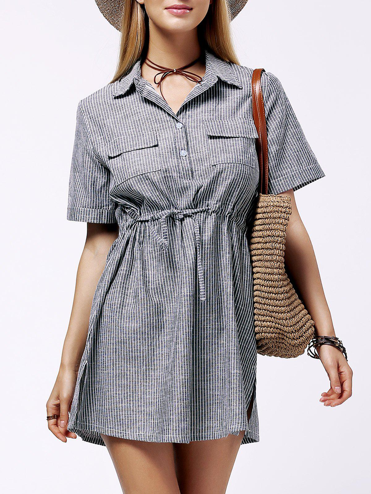 Stylish Women's Plus Size Shirt Collar Striped Dress - GRAY 3XL
