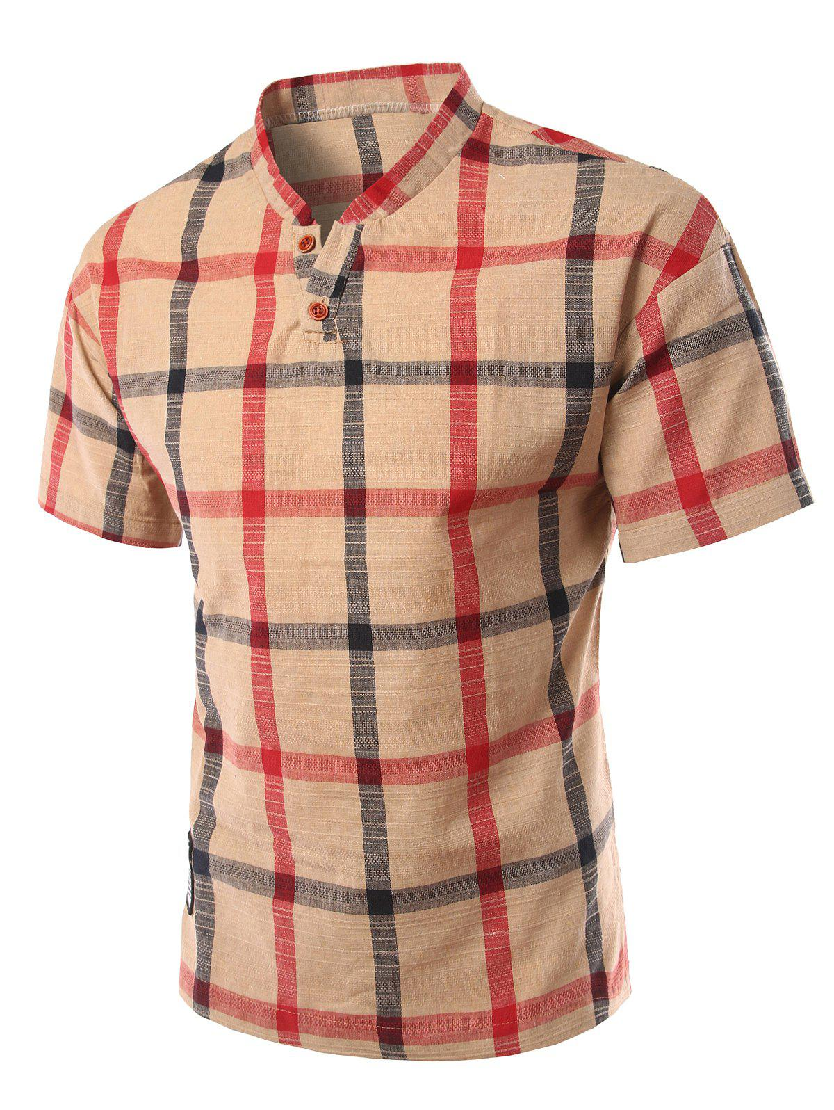 Slimming Checked Stand Collar Short Sleeve Polo Men's T-Shirt - KHAKI 3XL