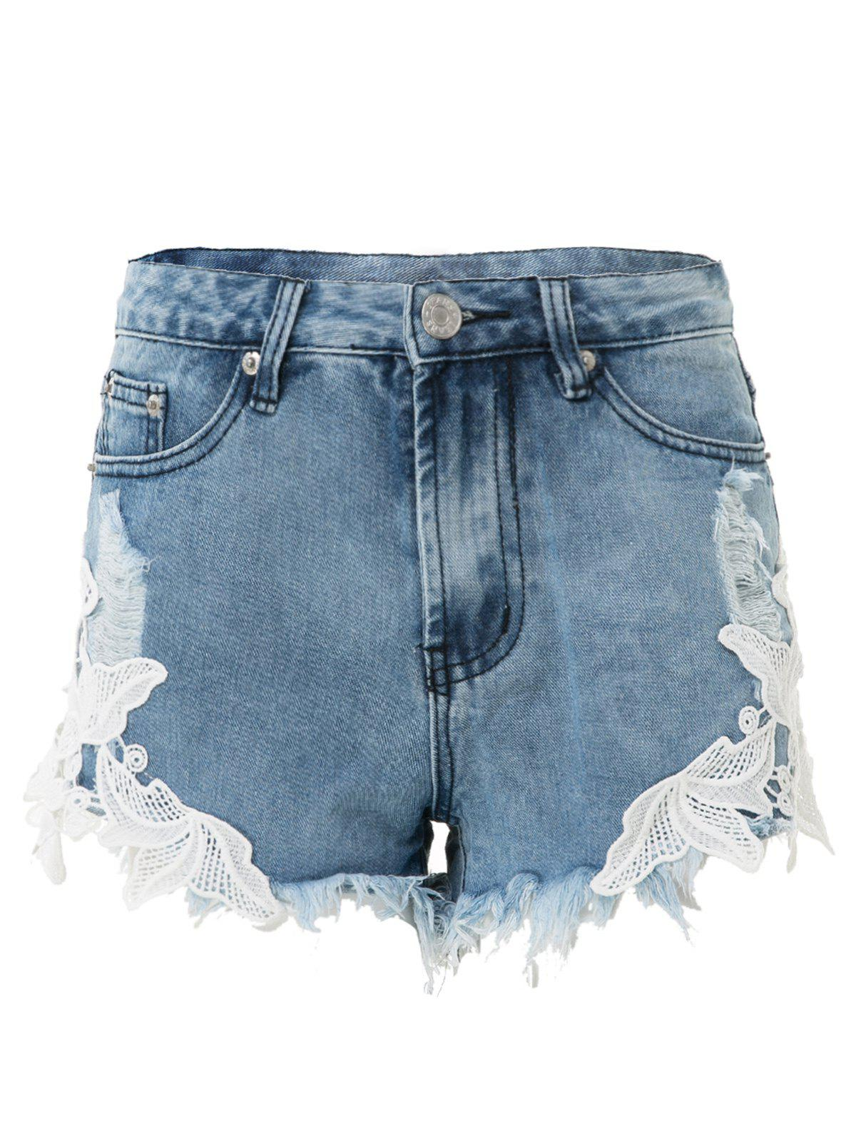Stylish High-Waisted Lace Spliced Hollow Out Women's Denim Shorts - BLUE L