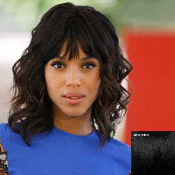 Charming Medium Side Bang Shaggy Curly Human Hair Wig For Women - JET BLACK