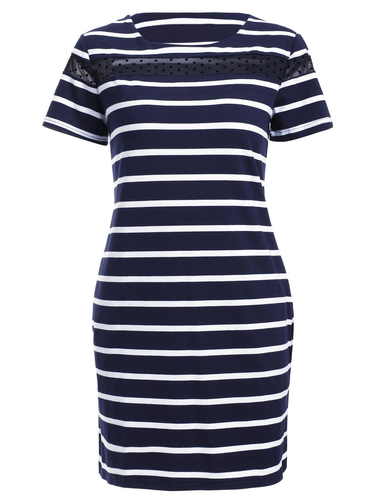 Stylish Women's Jewel Neck Striped Mesh Panelled Dress - PURPLISH BLUE M