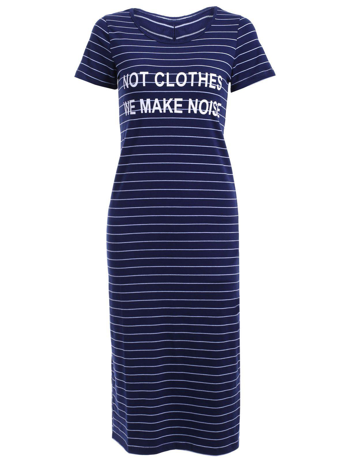 Stylish Women's Scoop Neck Striped Midi Dress - BLUE L