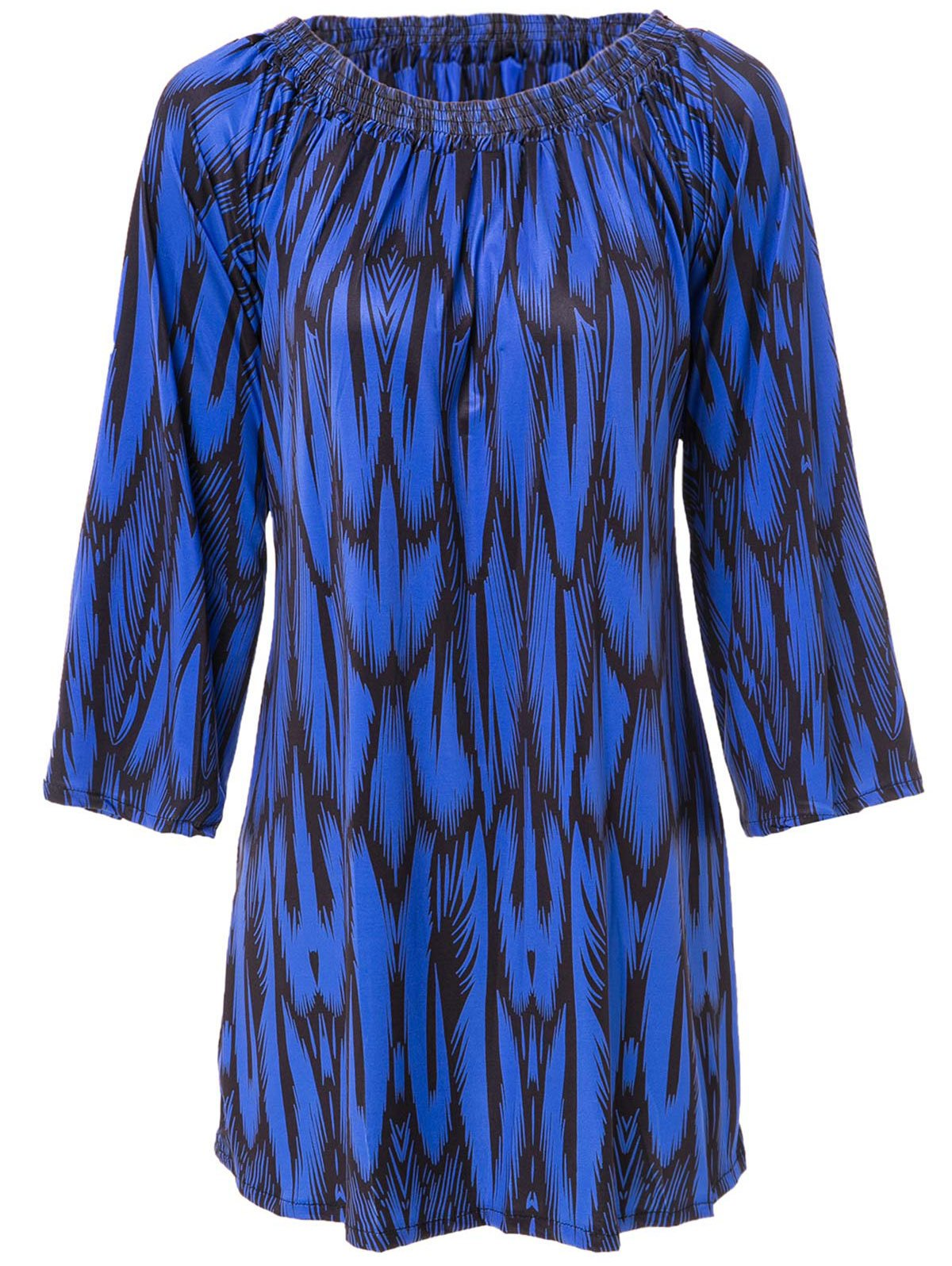 Slash Neck Long Sleeve Print Dress For Women - DEEP BLUE L