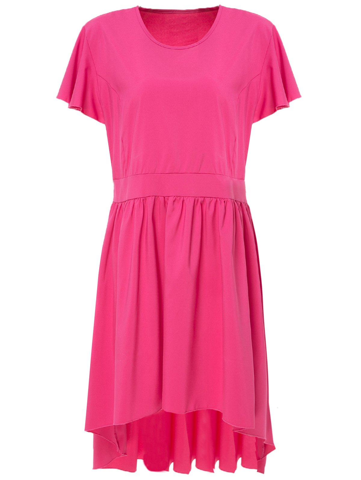 Stylish Solid Color Scoop Neck Pleated Asymmetric Plus Size Dress For WomenWomen<br><br><br>Size: 4XL<br>Color: RED