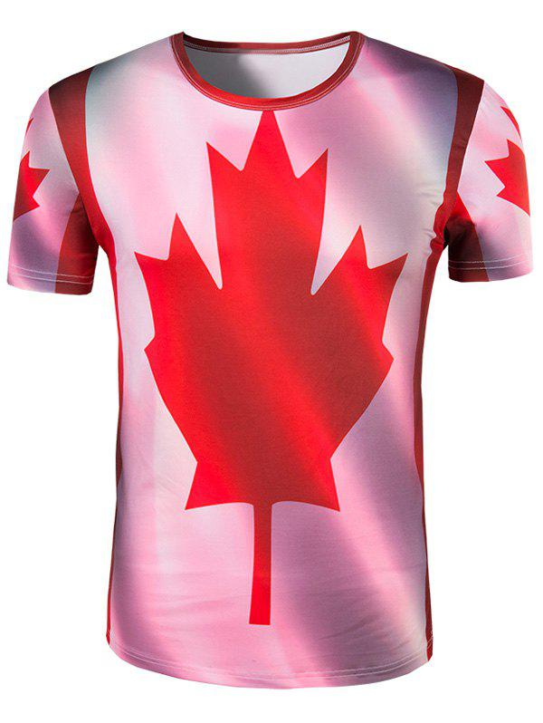 Men's Slimming Collarless Maple Leaf Printing Short Sleeves - COLORMIX 2XL