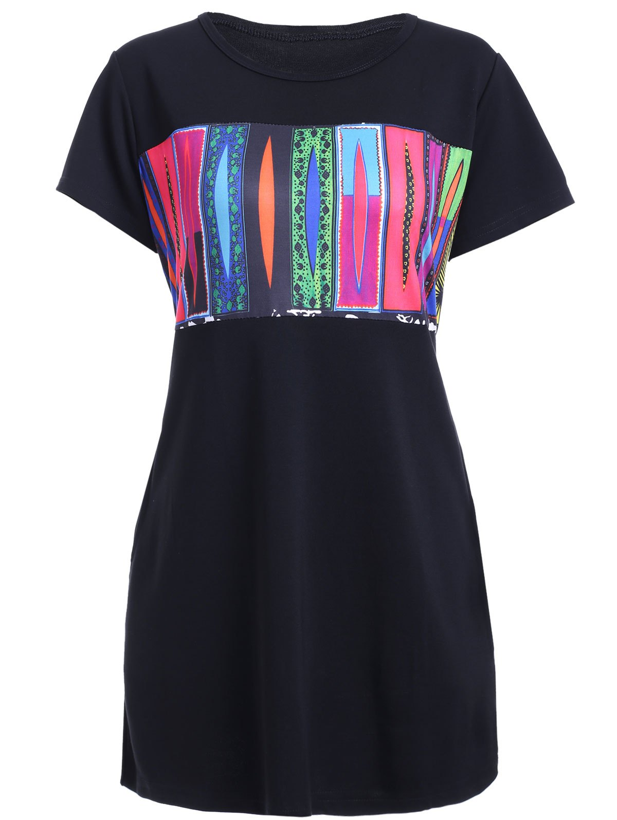 Women's Graceful Colorful Print Shift Dress - BLACK L