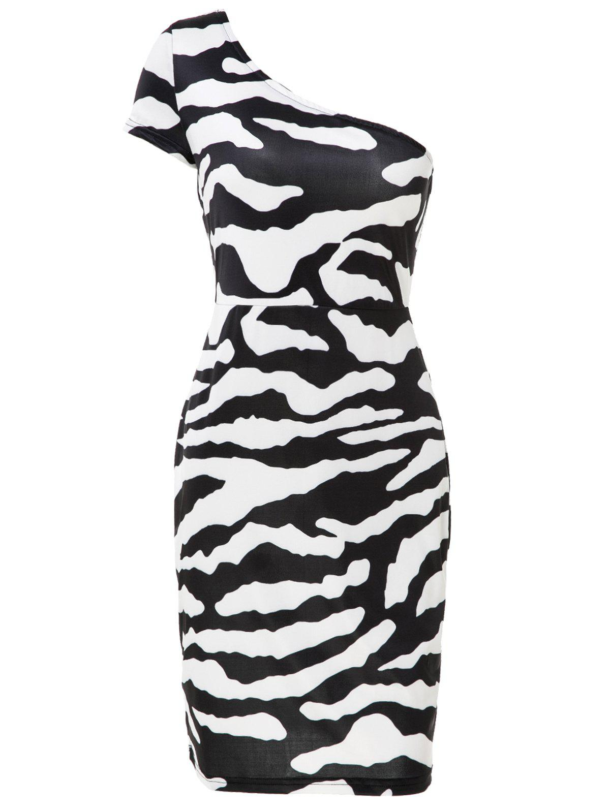 Chic One-Shoulder Short Sleeve Bodycon Zebra-Stripe Women's Dress - WHITE/BLACK 2XL