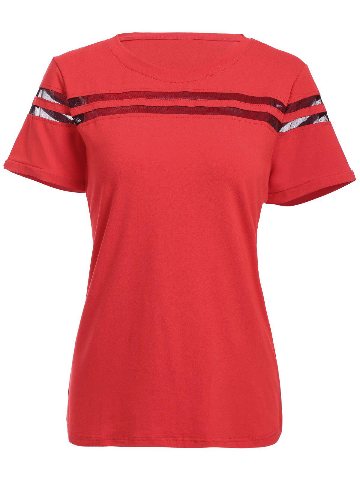 Women's Graceful Pure Color Voile Splicing T-Shirt - RED XL