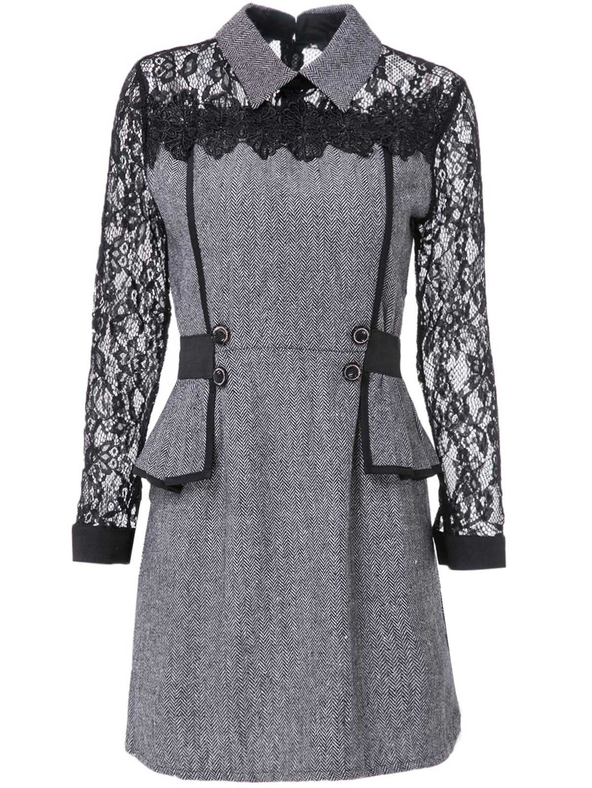 Chic Flat Collar Long Sleeve Flounced Lace Design Women's Dress - GRAY M