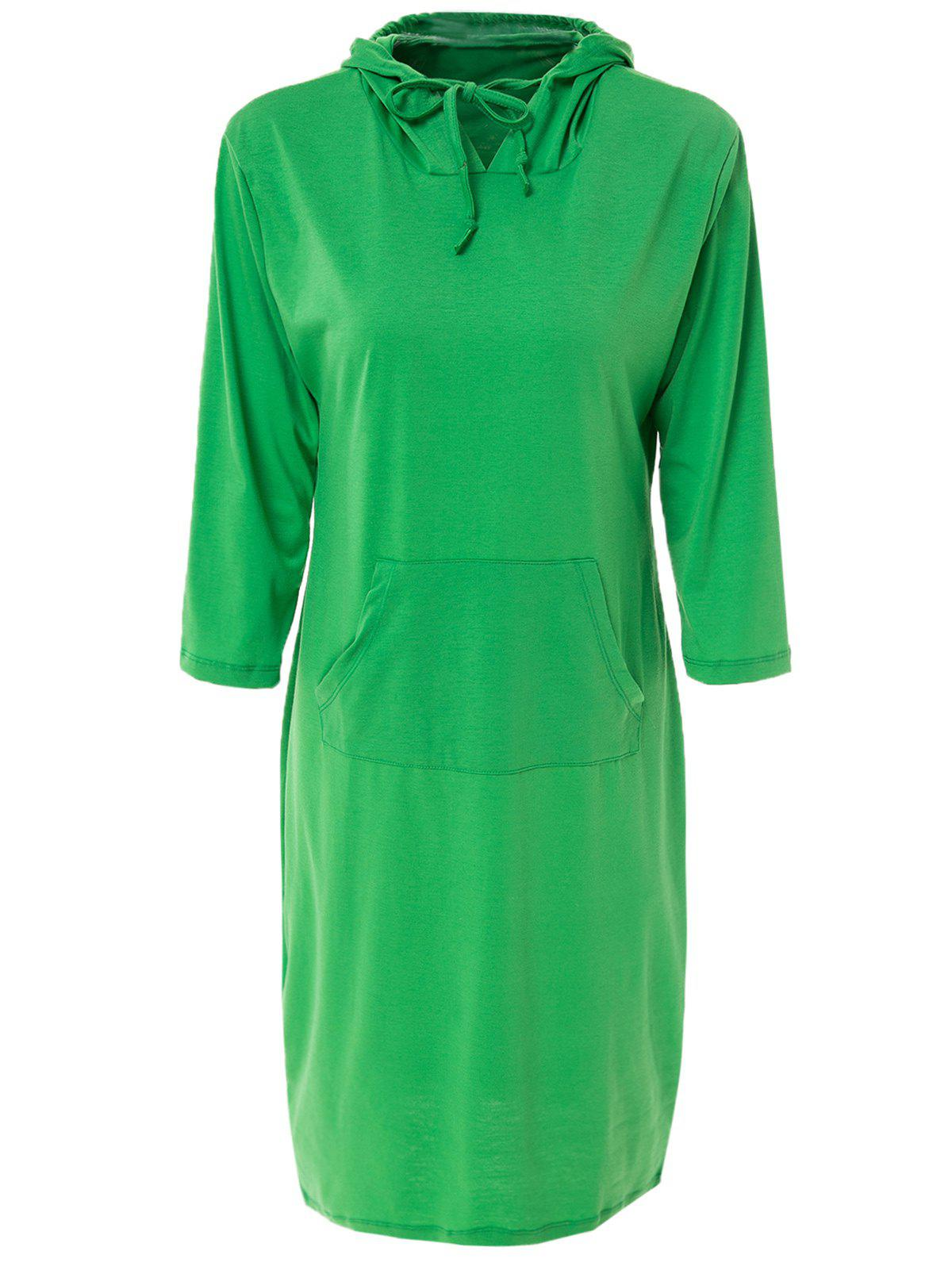 Chic Solid Color Hooded 3/4 Sleeve Bodycon Hoodie Dress For Women - GREEN S